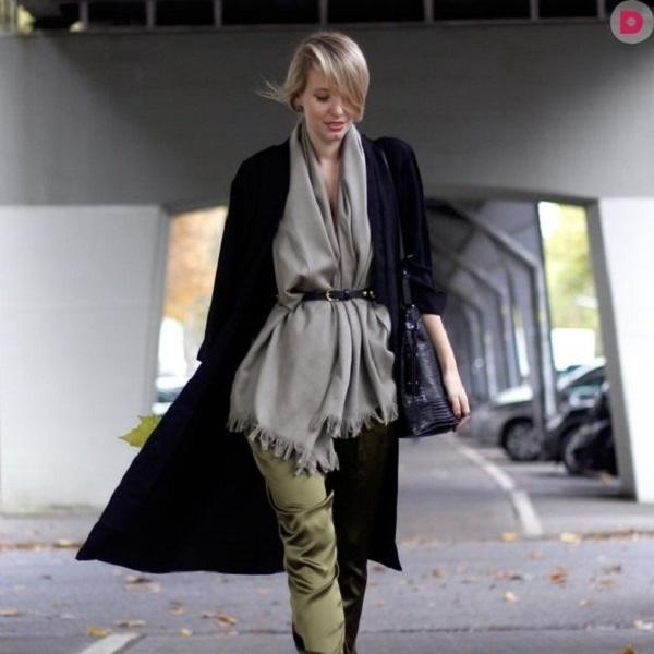 Простые способы ношения палантина в холодное время года, фото № 14