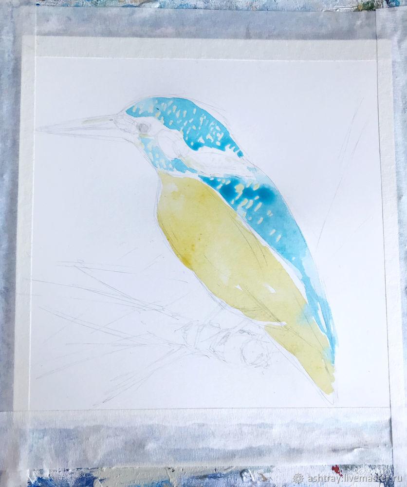Как нарисовать зимородка акварелью, фото № 5