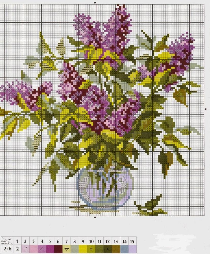 Сиреневые дали: 25 цветочных схем для вышивки