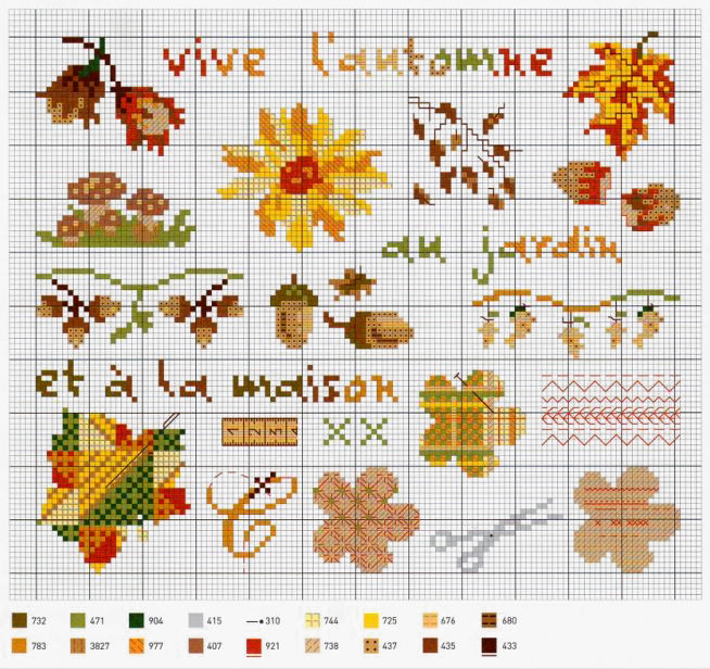 Влюбленные в осень: 50+ схем для вышивки крестиком, фото № 4