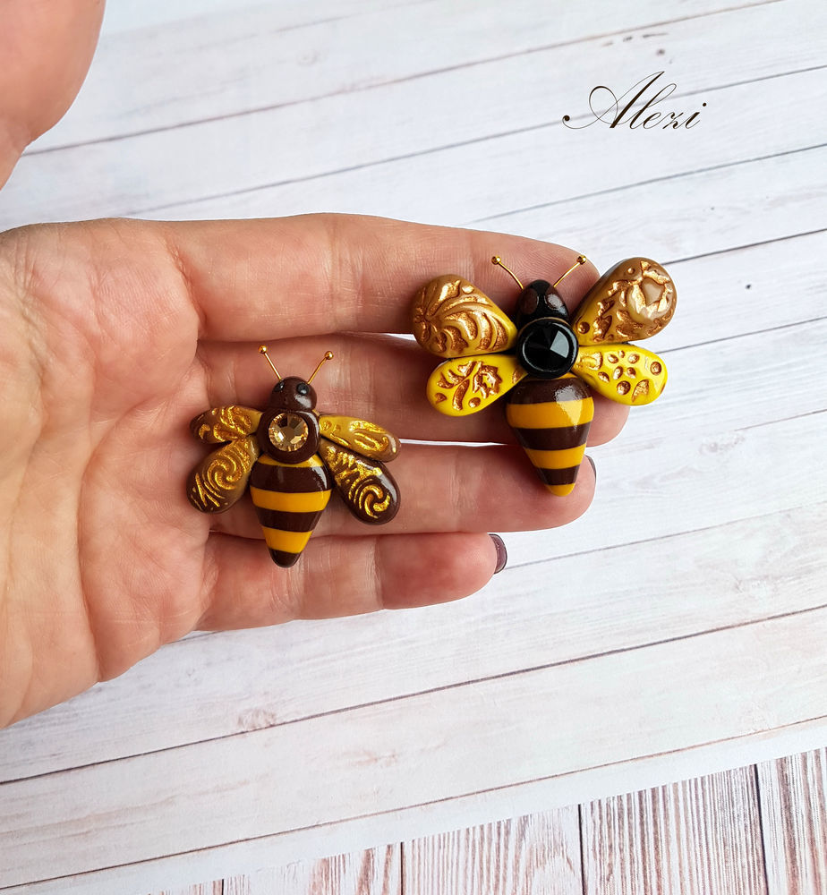 Creating Bee Brooch from Polymer Clay, фото № 17