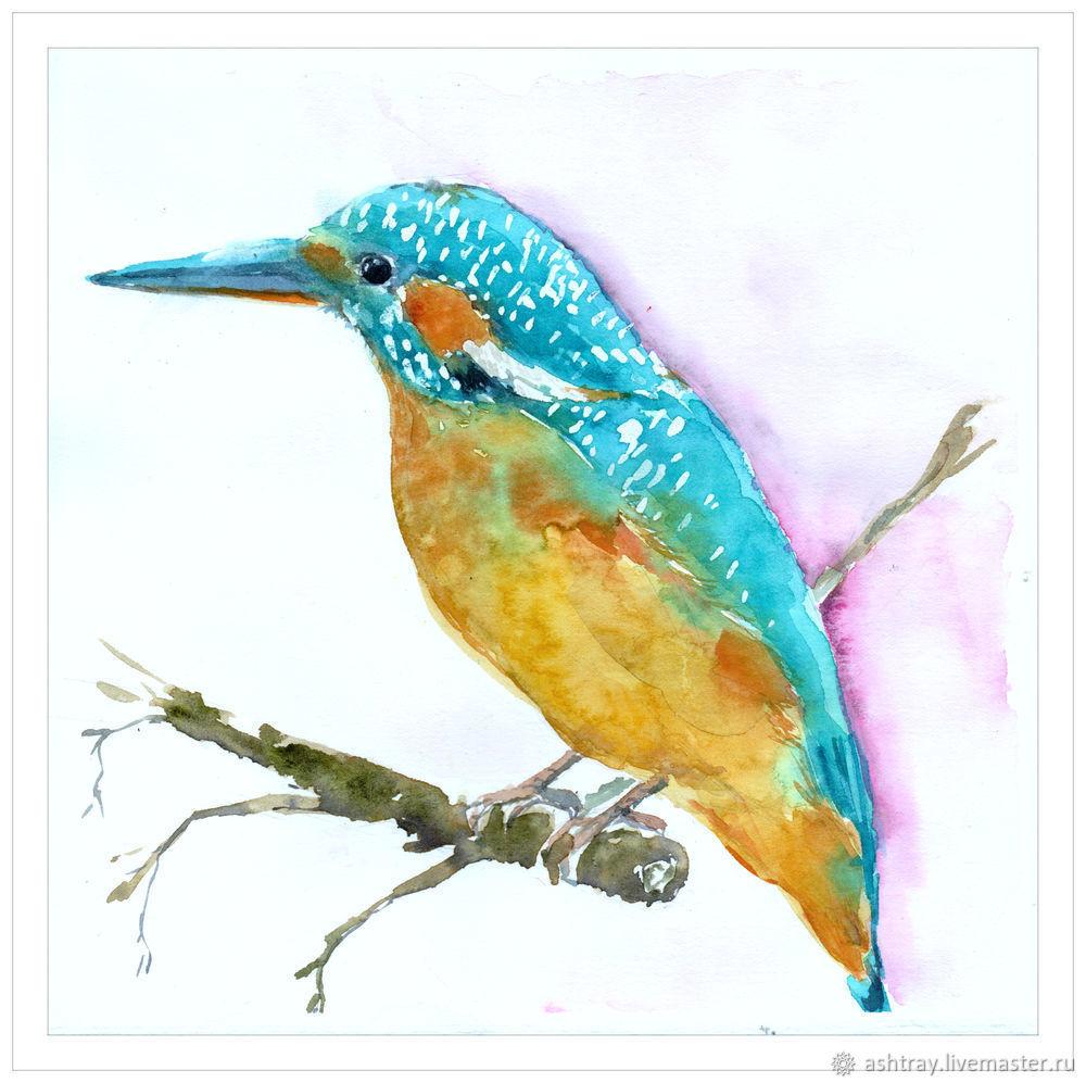 Как нарисовать зимородка акварелью, фото № 11