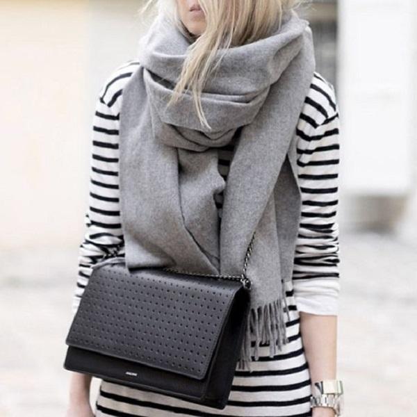 Простые способы ношения палантина в холодное время года, фото № 20