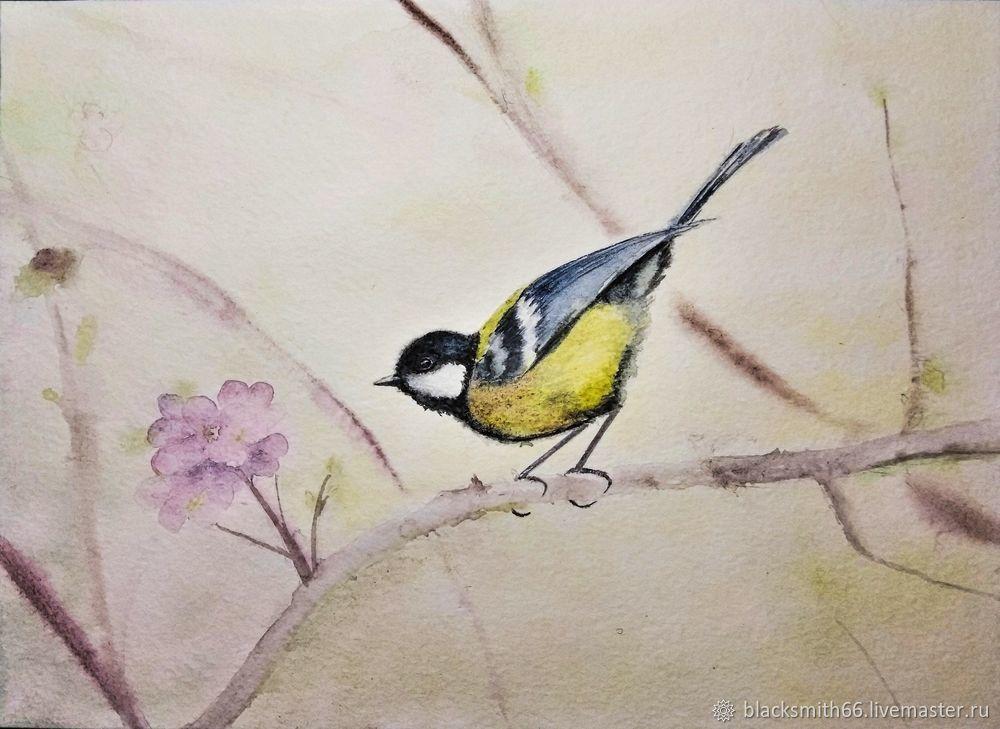 Рисуем синицу на цветущей ветке акварелью, фото № 10