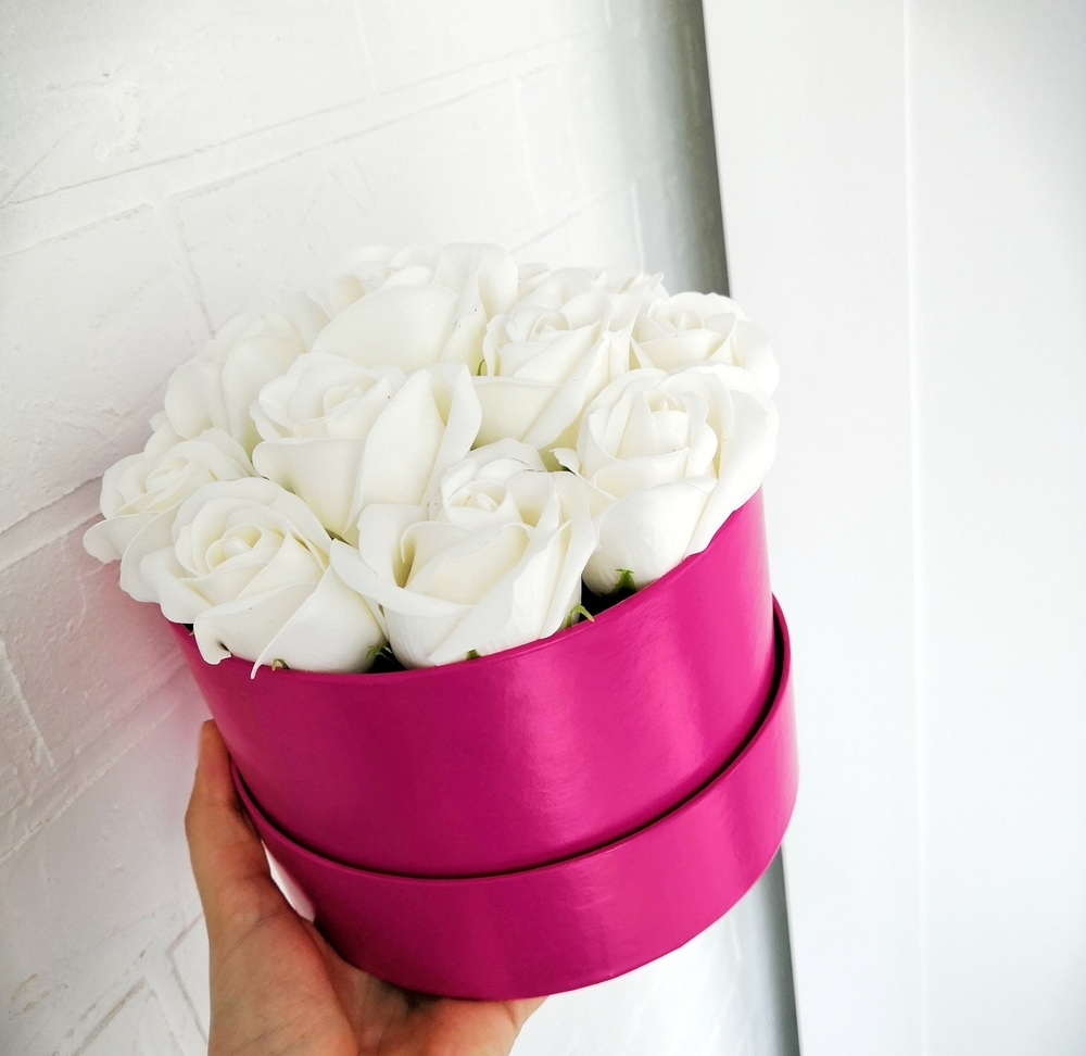 мыльные розы, розы в шляпных коробках, розы в коробке, мыльные цветы