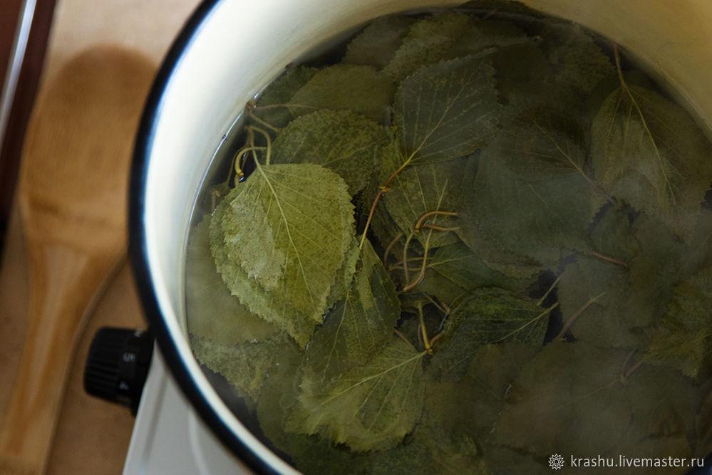 березовые листья, мастер-класс по крашению