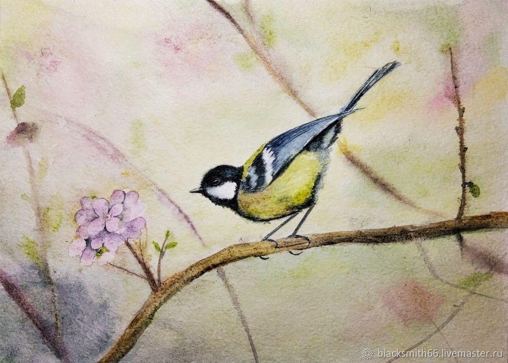 Рисуем синицу на цветущей ветке акварелью, фото № 12