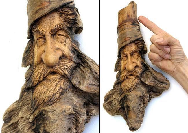 Нэнси Татл превращает коряги и обломки деревьев в сказочные деревянные скульптуры, фото № 11