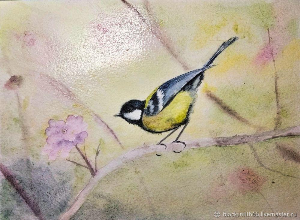 Рисуем синицу на цветущей ветке акварелью, фото № 11