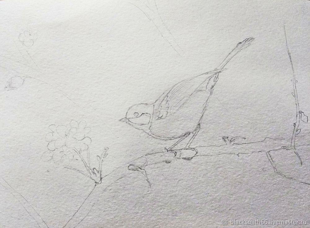 Рисуем синицу на цветущей ветке акварелью, фото № 3