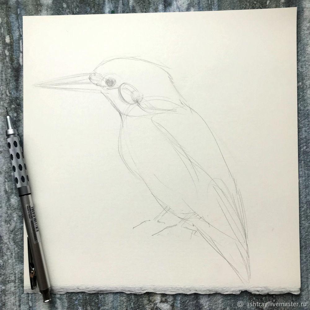 Как нарисовать зимородка акварелью, фото № 1