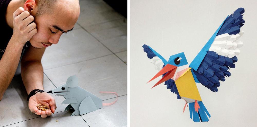 Повелитель бумаги inus ui создаёт маски и костюмы из цветного картона, фото № 3