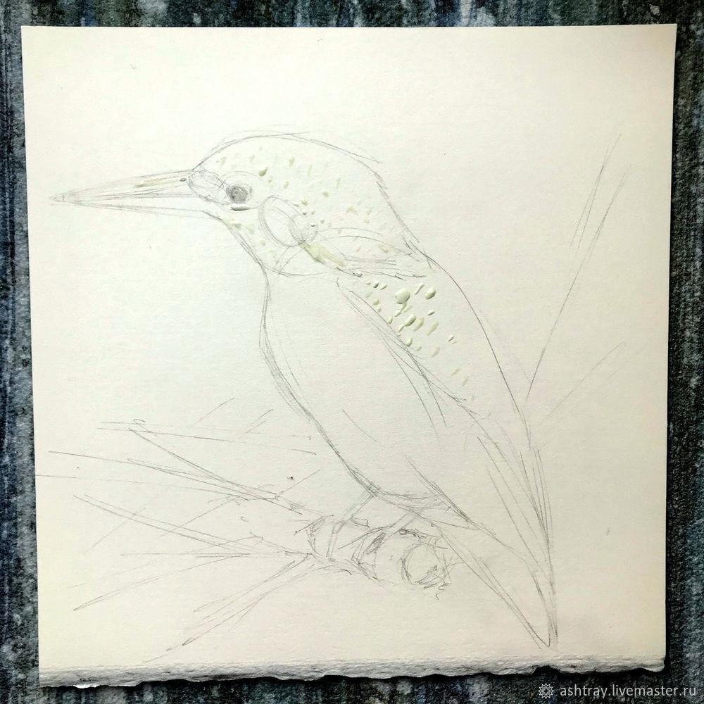 Как нарисовать зимородка акварелью, фото № 3