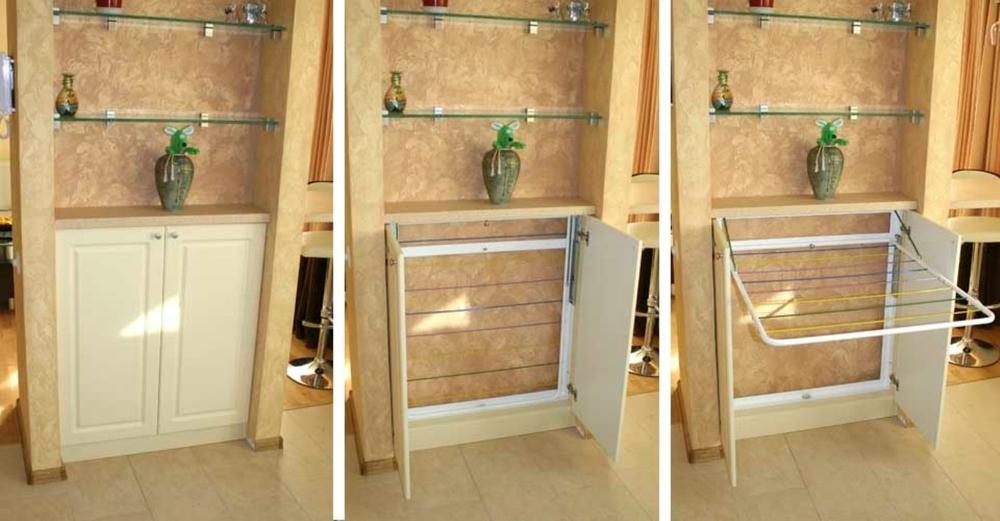Где сушить белье в квартире красиво и удобно? (33 обычных и необычных решений), фото № 33