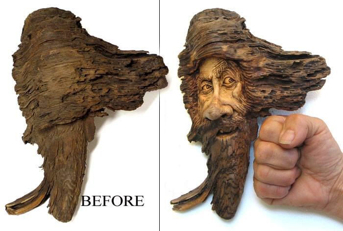 Нэнси Татл превращает коряги и обломки деревьев в сказочные деревянные скульптуры, фото № 6