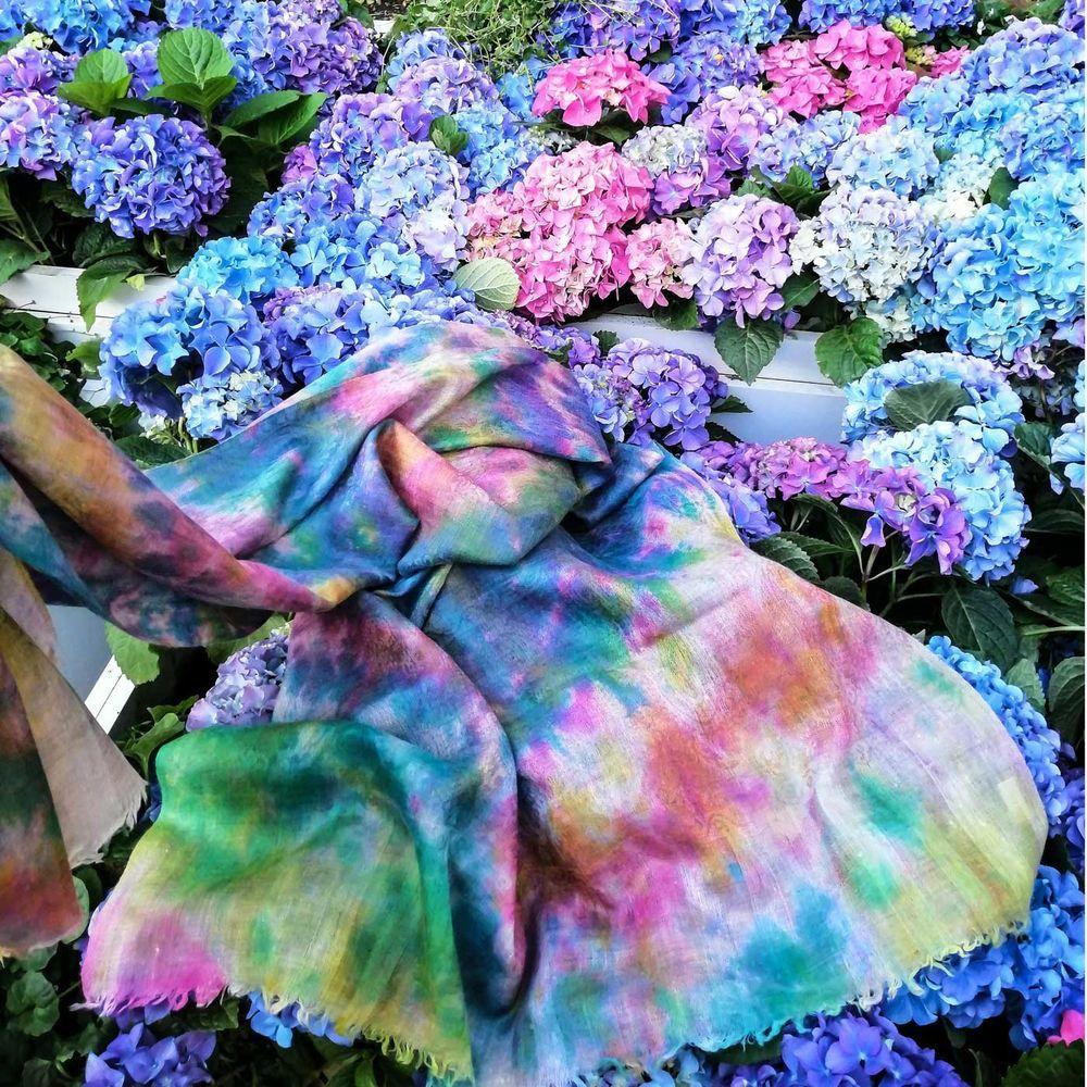 палантин из кашемира, краски лета, стильный образ, аксессуары, неповторимый образ