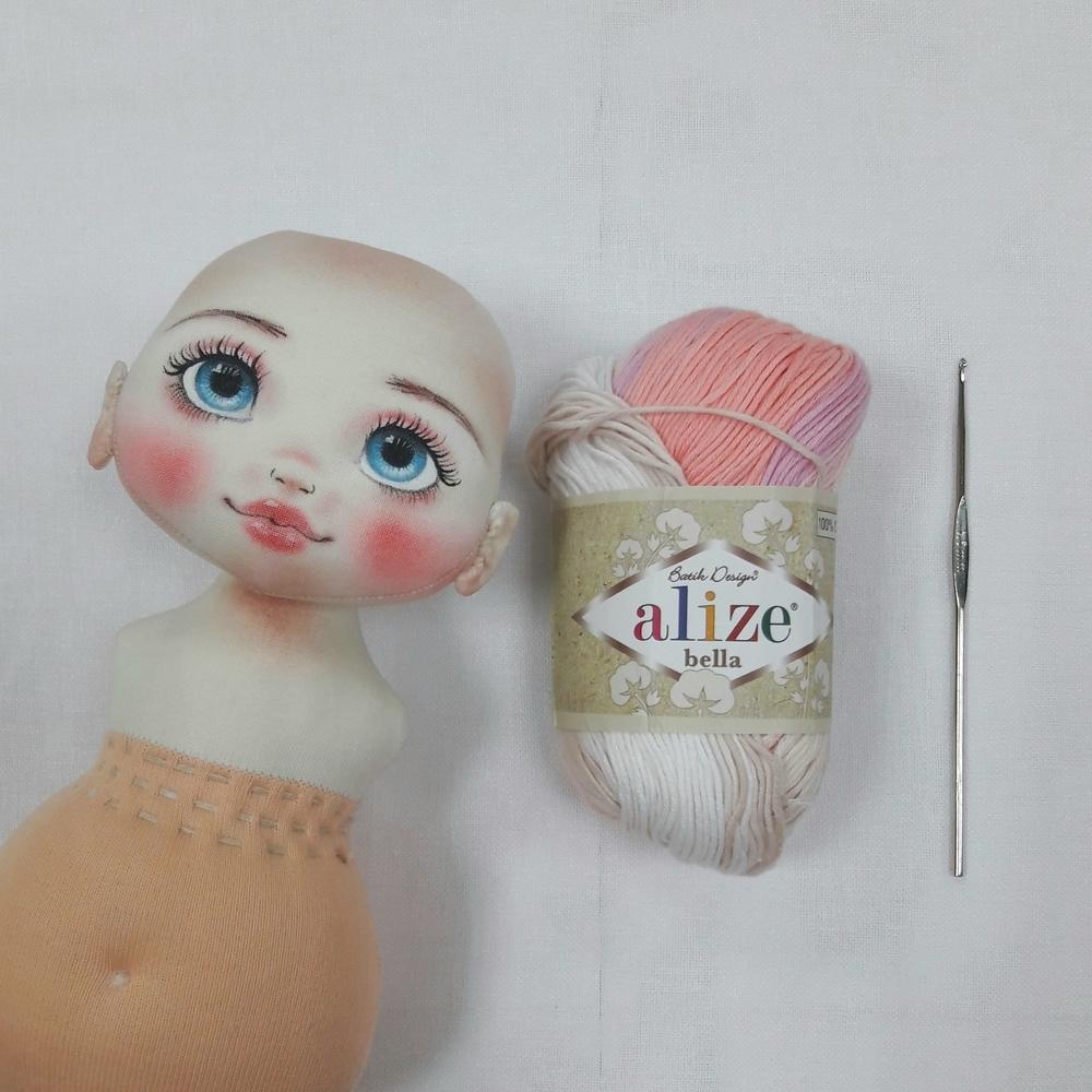 Делаем волосы из пряжи для куклы из ткани, фото № 1