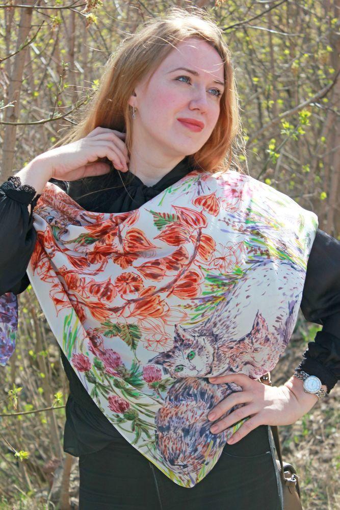 платок шелковый, подарок девушке