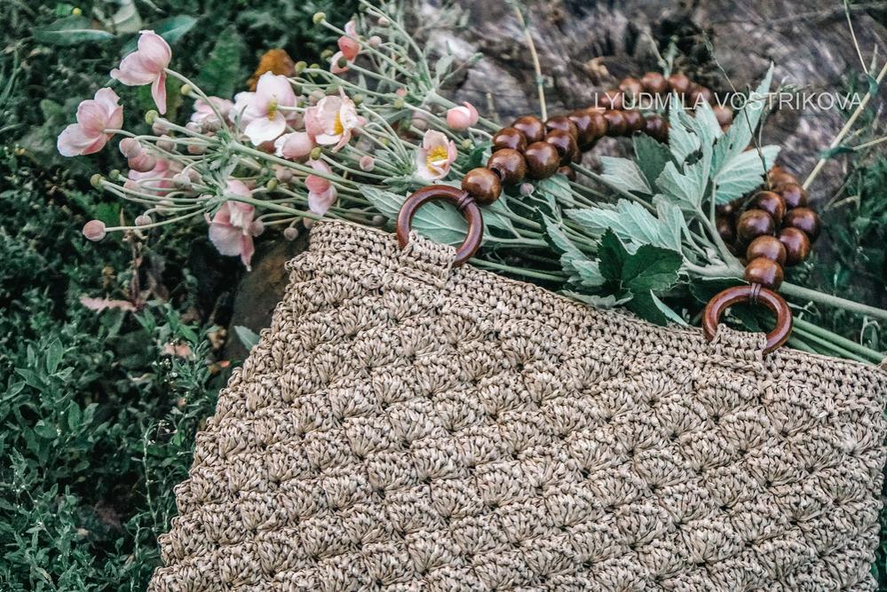 сумка из рафии, изделия из рафии, инструкция по вязанию