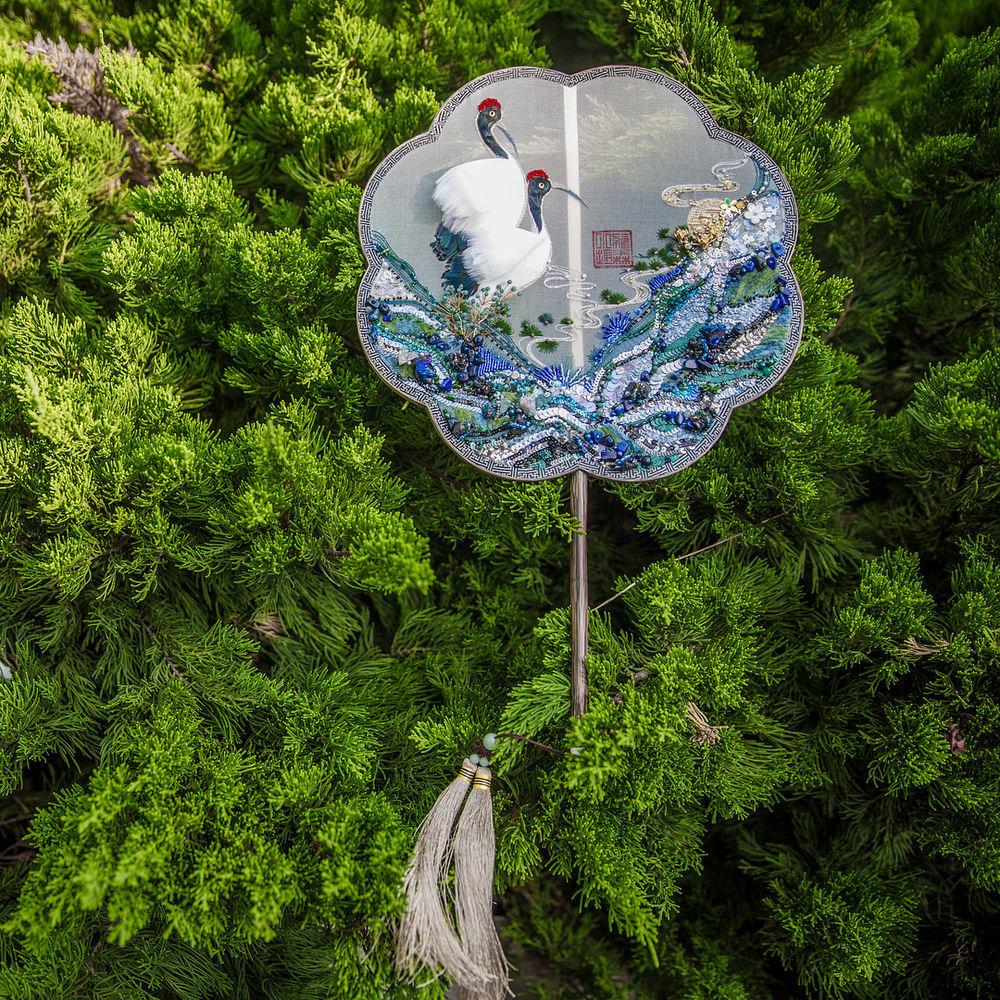Чудесный веер с журавлями от китайской Jiaran Studio