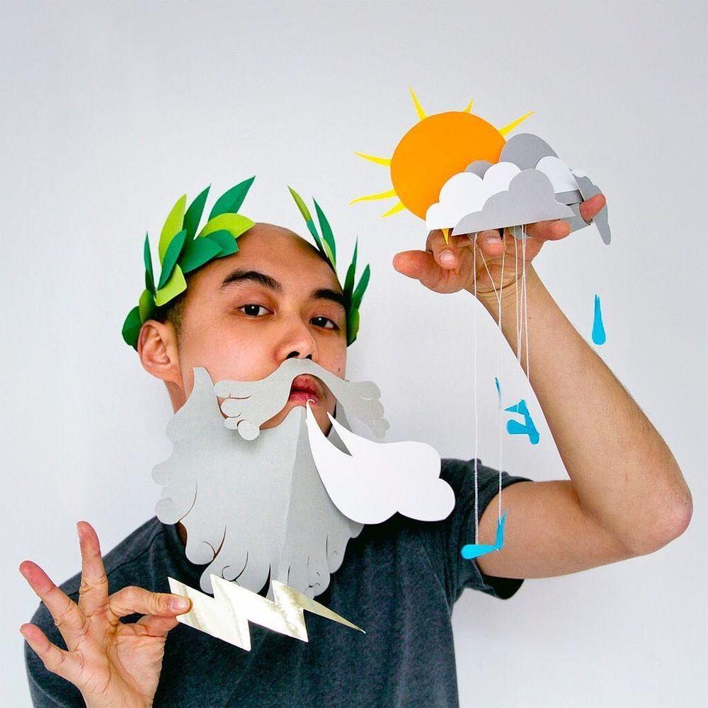Повелитель бумаги inus ui создаёт маски и костюмы из цветного картона, фото № 20