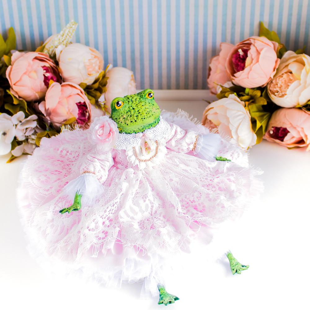 Принцесса Одри жаба, лягушка, авторская кукла, подарок любимой, фото № 4