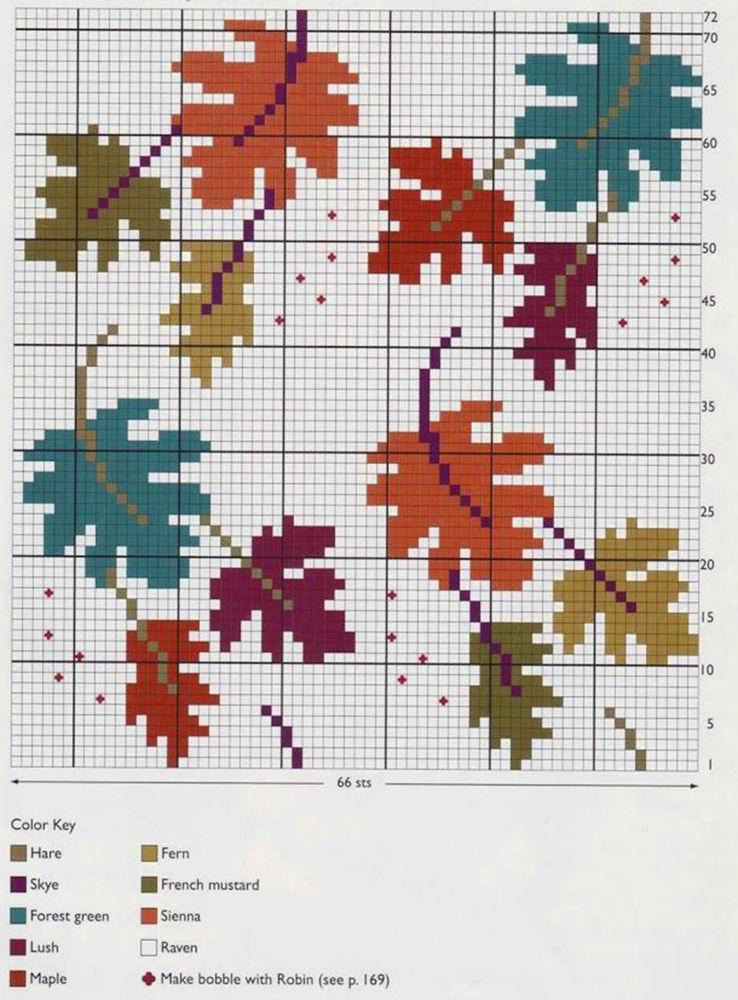 Влюбленные в осень: 50+ схем для вышивки крестиком, фото № 48