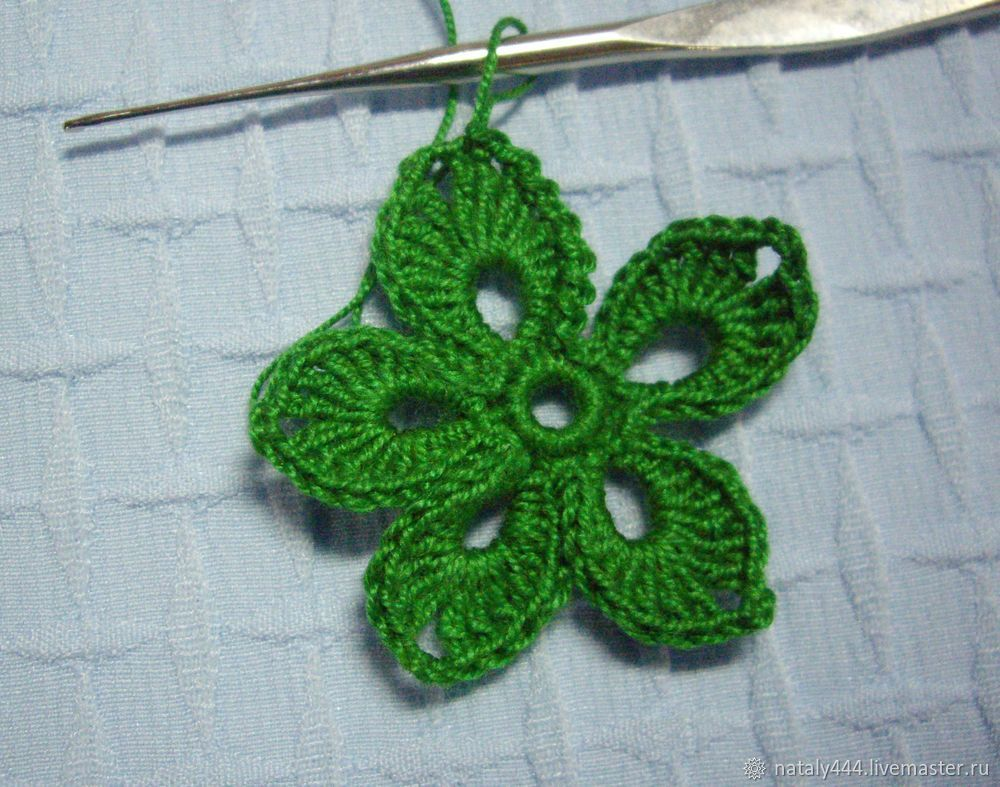 Вяжем цветок для ирландского кружева, фото № 13