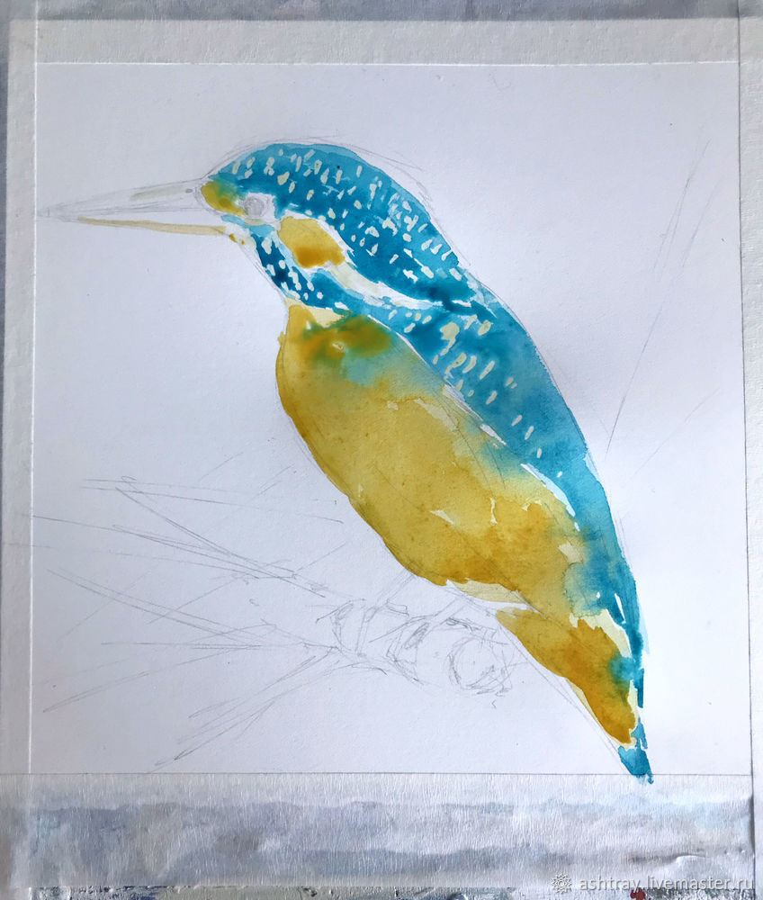 Как нарисовать зимородка акварелью, фото № 6