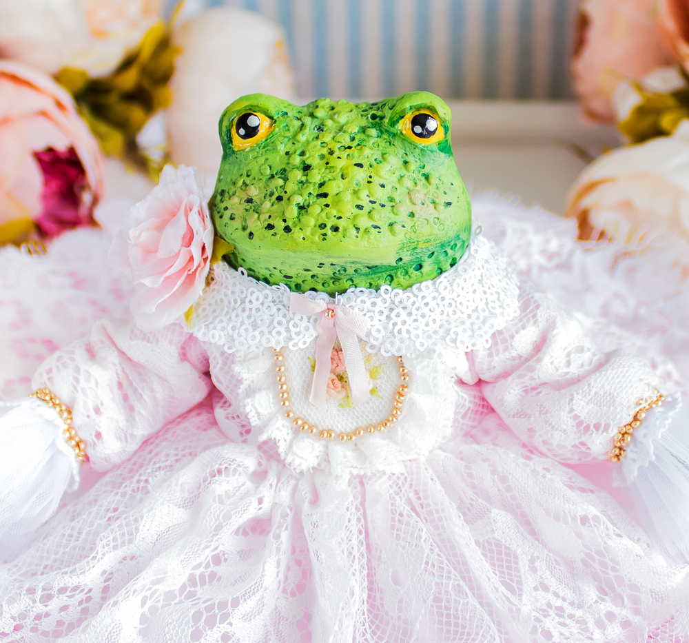 Принцесса Одри жаба, лягушка, авторская кукла, подарок любимой, фото № 1
