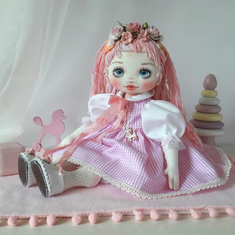 Делаем волосы из пряжи для куклы из ткани, фото № 15