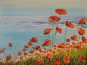 How to Simply Paint a Landscape with Poppies. Livemaster - handmade