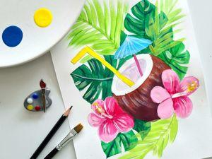 Рисуем тропические цветы: натюрморт в гавайском стиле. Ярмарка Мастеров - ручная работа, handmade.