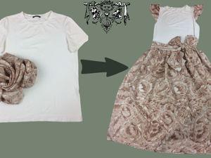 Как сшить домашнее платье из футболки и ткани без выкройки за 10 минут. Ярмарка Мастеров - ручная работа, handmade.