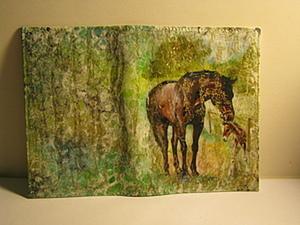"""Обложка на паспорт """"Лошадь и жеребенок"""". Ярмарка Мастеров - ручная работа, handmade."""
