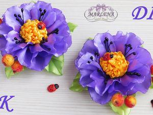 Делаем красивые цветы из атласных лент: видеоурок. Ярмарка Мастеров - ручная работа, handmade.