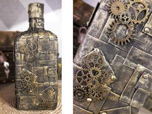 Декорируем бутылку в стиле стимпанк. Ярмарка Мастеров - ручная работа, handmade.