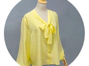 Шикарная шелковая блузка в лимонно-желтом оттенке. Ярмарка Мастеров - ручная работа, handmade.
