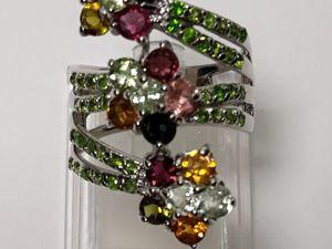 Серебряное кольцо с натуральными турмалинами  «FLORA». Ярмарка Мастеров - ручная работа, handmade.