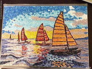 """""""Морская прогулка"""": создаем мозаику из колотой стеклянной плитки. Ярмарка Мастеров - ручная работа, handmade."""