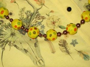Деревянные бусы, декорированные точечной росписью. Ярмарка Мастеров - ручная работа, handmade.