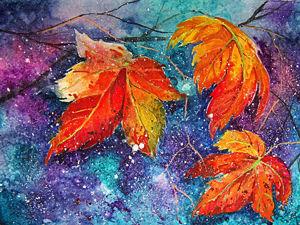 Осенний мастер-класс: акварель по-мокрому. Ярмарка Мастеров - ручная работа, handmade.