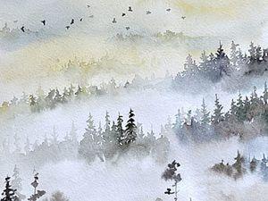 Видео мастер-класс: картина акварелью «Туманный пейзаж». Ярмарка Мастеров - ручная работа, handmade.