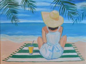 Интерьерная картина маслом:  «Пляжный пейзаж с девушкой». Ярмарка Мастеров - ручная работа, handmade.