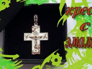 Православный крестик из золота с эмалью. Ярмарка Мастеров - ручная работа, handmade.