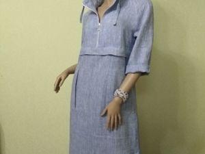 Полуспортивное платье с капюшоном из льна. Ярмарка Мастеров - ручная работа, handmade.