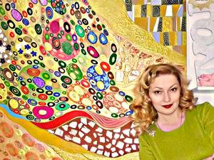 Модульная яркая картина в стиле абстракции по мотивам Густава Климта. Ярмарка Мастеров - ручная работа, handmade.