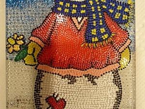 """Магнит """"Снеговик"""" (точечная роспись). Ярмарка Мастеров - ручная работа, handmade."""