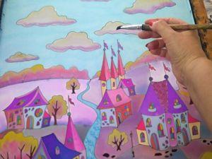 Городок фантазий для Татьяны. Батик, фрагменты росписи. Ярмарка Мастеров - ручная работа, handmade.