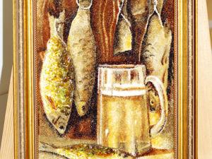 Янтарная картина  «Пиво с рыбой». Ярмарка Мастеров - ручная работа, handmade.